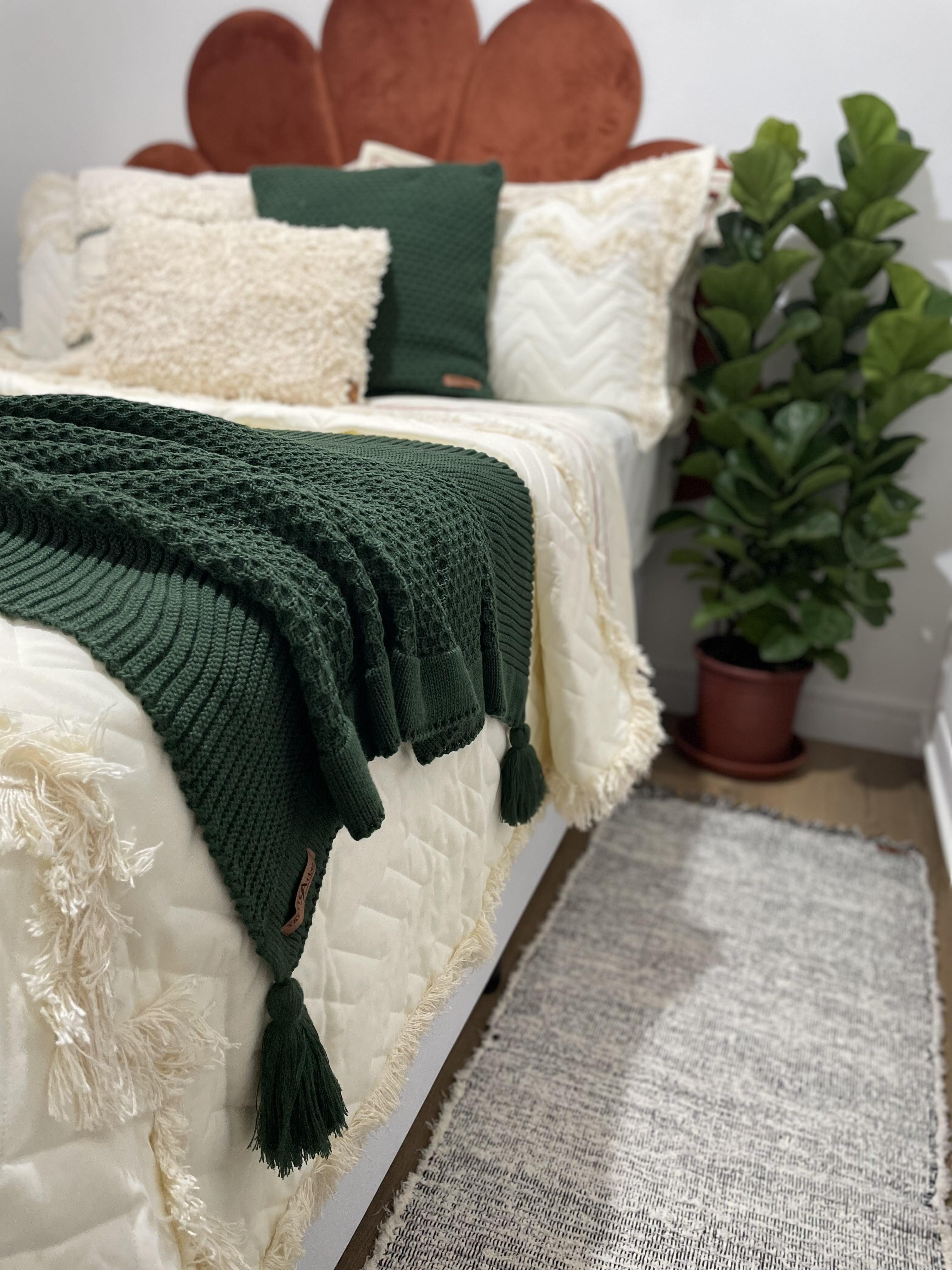 Manta e Capa de Almofada de Trico Hanoi Verde