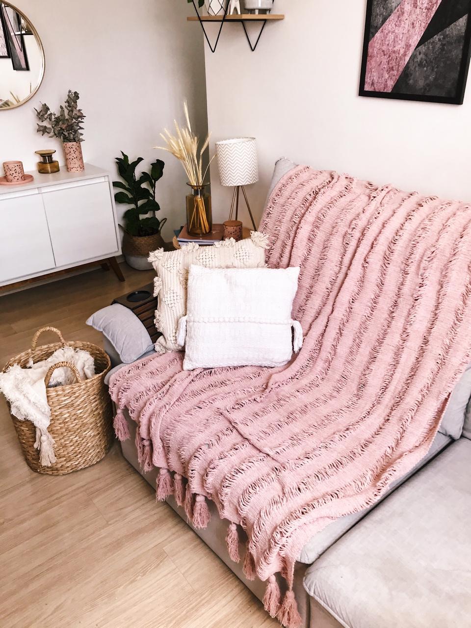 Manta Para Sofá  Candy Rosê
