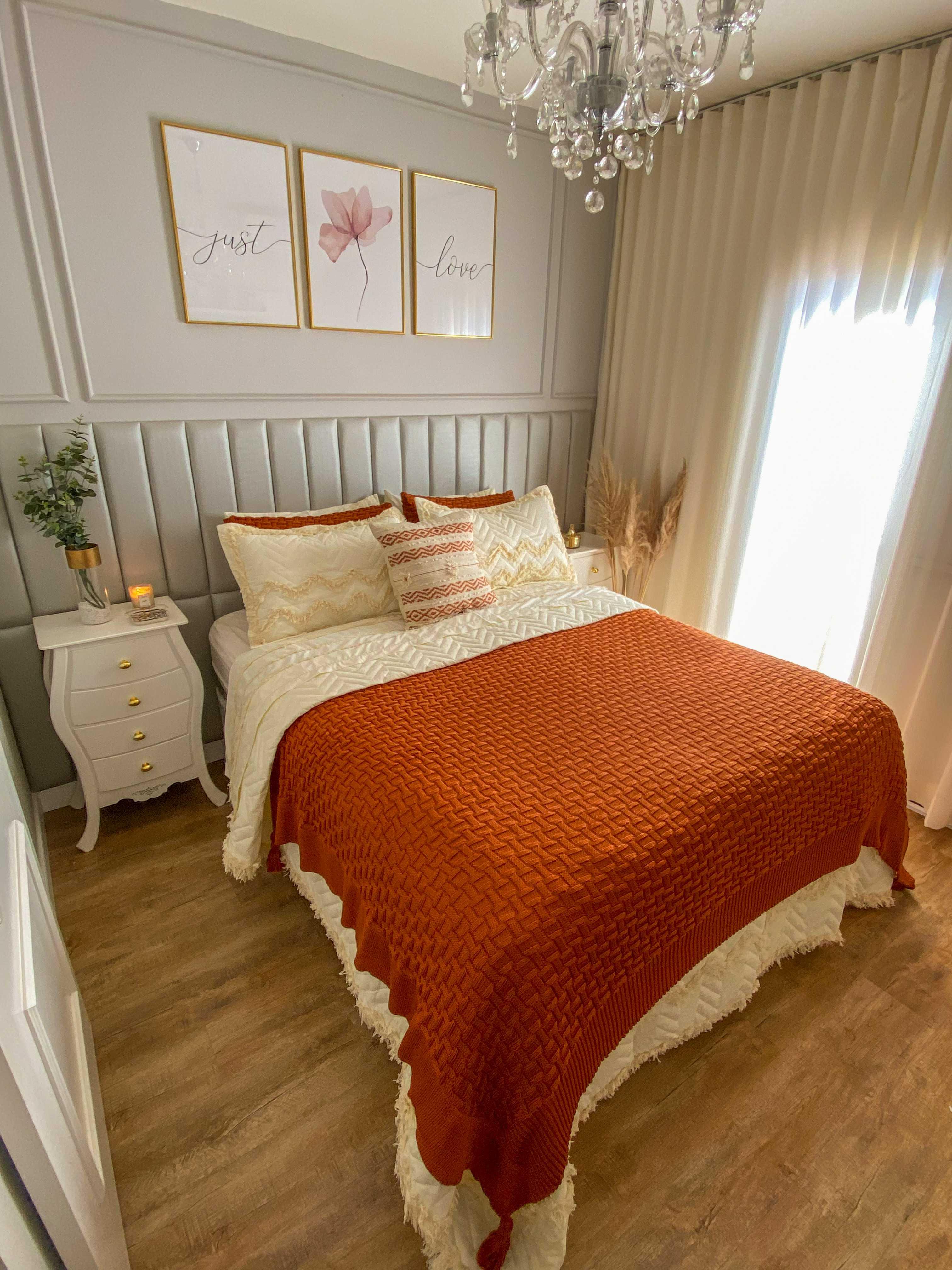 Peseira com Porta Travesseiros Madrid Terracota