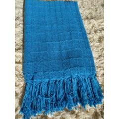 Manta Para Sofá de Algodão Azul Turquesa