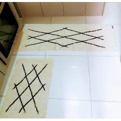 Jogo de Passadeira Geométrica Bordada Bege